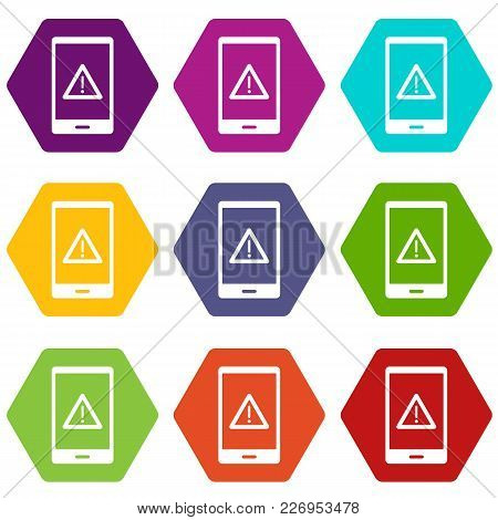 Not Working Phone Icon Set Many Color Hexahedron Isolated On White Vector Illustration