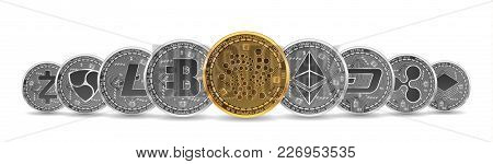 Set Of Gold And Silver Crypto Currencies With Golden Iota In Front Of Other Crypto Currencies As Lea