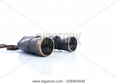 Old Vintage Binoculars On White Background, Shadows And Reflections, Soviet Binoculars Of The Great
