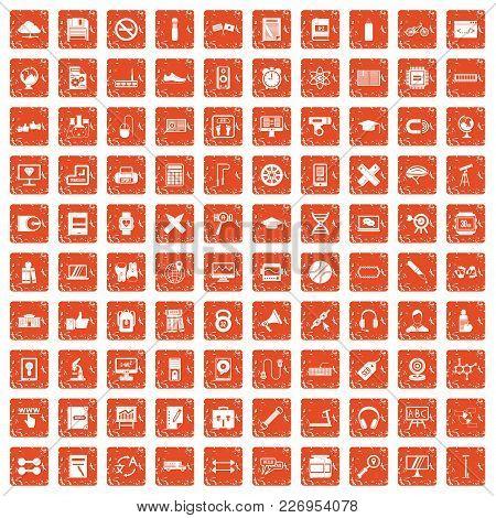 100 Training Icons Set In Grunge Style Orange Color Isolated On White Background Vector Illustration