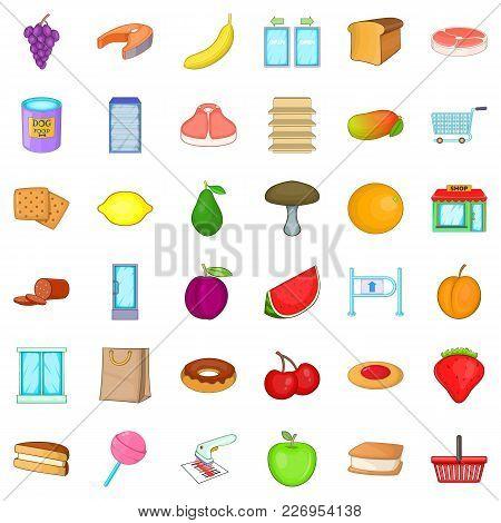 Organic Produce Icons Set. Cartoon Set Of 36 Organic Produce Vector Icons For Web Isolated On White