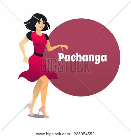 Pachanga Dancer. Dancing Girl In Cartoon Style For Fliers Posters Banners Prints Of Dance School And