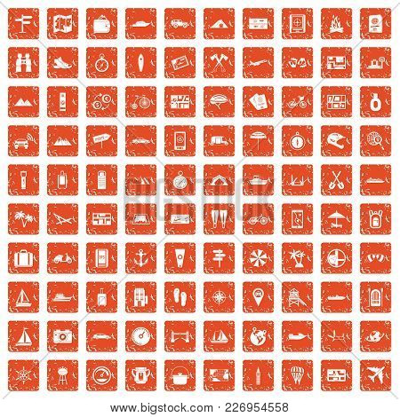 100 Travel Icons Set In Grunge Style Orange Color Isolated On White Background Vector Illustration