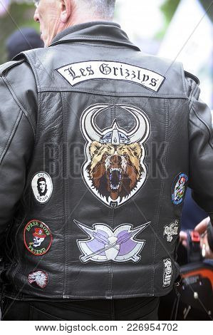 Beaucaire, France - April 30, 2016: Embroidery On The Back Of A Biker Jacket In A Gathering Of Ameri