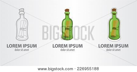Logo Message In A Bottle. Vector Illustration On Gray Background.