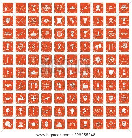 100 Trophy And Awards Icons Set In Grunge Style Orange Color Isolated On White Background Vector Ill