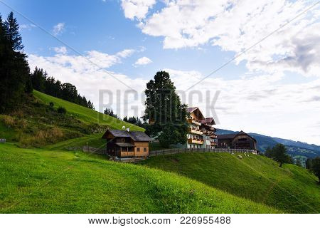 Beautiful Wooden House On Hillside Over Schladming In Styria, Austria
