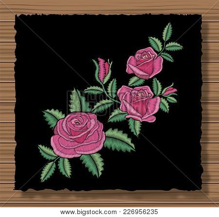 Floral Stitched Ornament With Stitch Flowers And Sprigs. Embroidery Roses And Leaves On A Dark Flap
