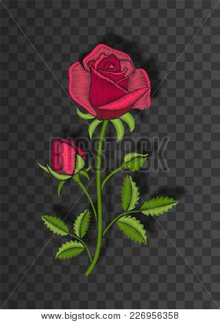 Floral Stitched Ornament With Stitch Rose. Embroidery Flower On Transparent Background With Shadow.
