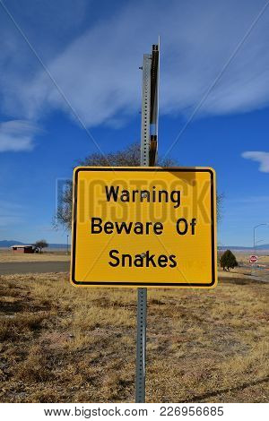 Warning Sign To Be Aware Of Snakes In The Area