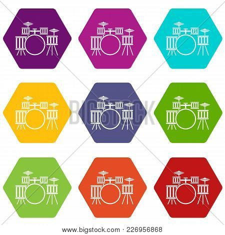 Drum Kit Icon Set Many Color Hexahedron Isolated On White Vector Illustration