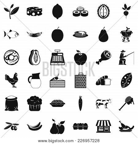 Forest Food Icons Set. Simple Set Of 36 Forest Food Vector Icons For Web Isolated On White Backgroun