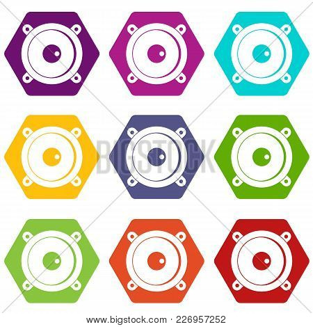 Audio Speaker Icon Set Many Color Hexahedron Isolated On White Vector Illustration