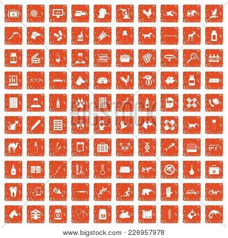 100 Veterinary Icons Set In Grunge Style Orange Color Isolated On White Background Vector Illustrati