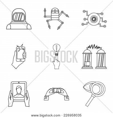 Scientific Investigation Icons Set. Outline Set Of 9 Scientific Investigation Vector Icons For Web I