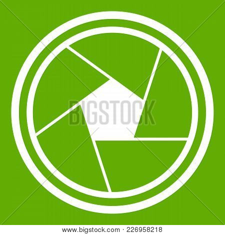 Photo Objective Icon White Isolated On Green Background. Vector Illustration