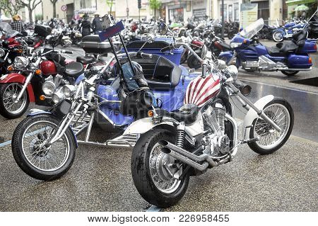 Beaucaire, France - April 30, 2016: A Group Of Motorcycles From A Gathering Of American Motorcycle I
