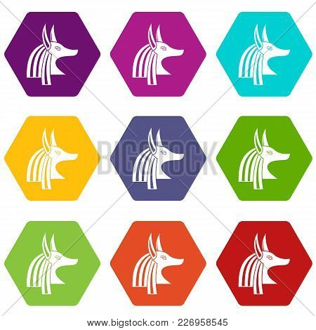 Ancient Egyptian God Anubis Icon Set Many Color Hexahedron Isolated On White Vector Illustration