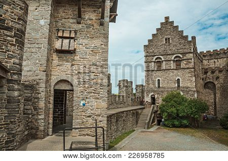 Stone Watch-tower, Door And Walls Inside The Gravensteen Castle At Ghent. In Addition To Intense Cul