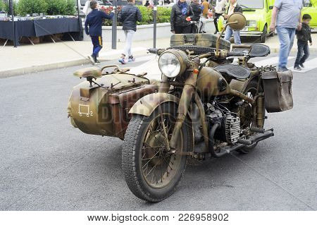Beaucaire, France - April 30, 2016: Military Motorcycle Of The Last World War Exposed To A Gathering