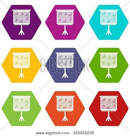 Whiteboard With Music Notes Icon Set Many Color Hexahedron Isolated On White Vector Illustration
