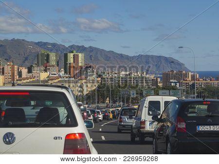 Spain, Canary Islands, Tenerife, Santa Cruz De Tenerife, December 27, 2017, View From Car Window On