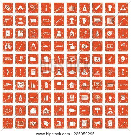 100 Violation Icons Set In Grunge Style Orange Color Isolated On White Background Vector Illustratio