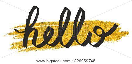 Hello On Gold Glitter Background Vector Illustration