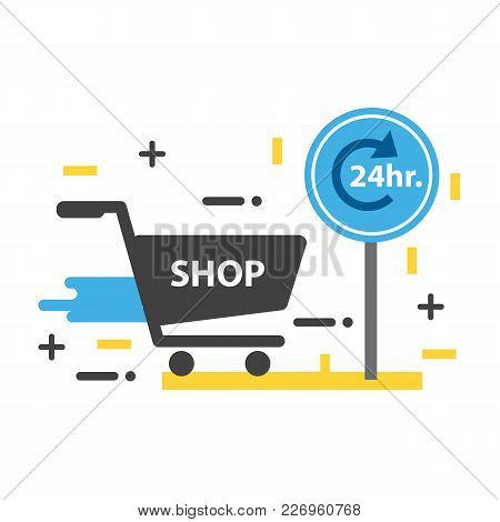 E-commerce Business Concept. Shopping 24 Hours, Flat Line Design Of Web Banner Template