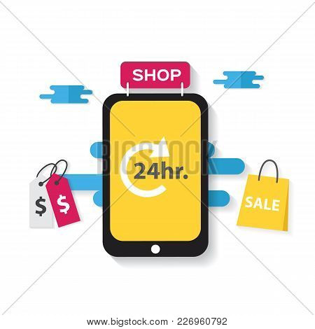 E-commerce Business Concept. Shopping 24 Hours, Shopping On Mobile