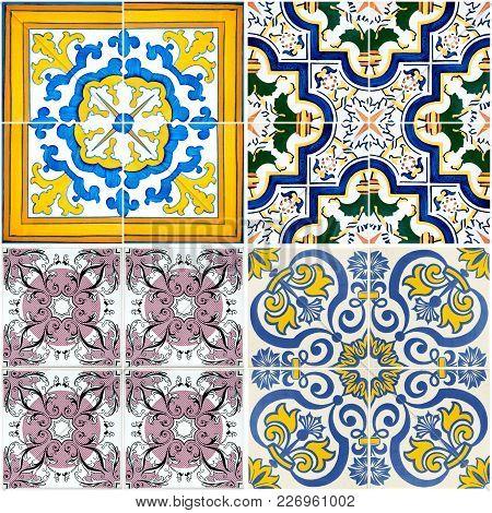 Four Colorful Vintage Ceramic Tiles Wall Decoration.