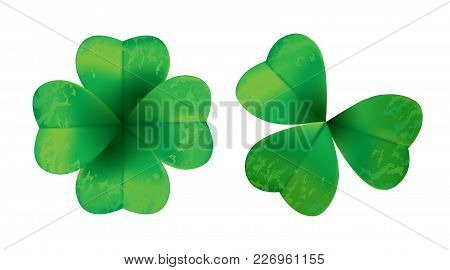 Four Leaf Clover Isolated On White Background, Vector Illustration For St. Patrick's Day.