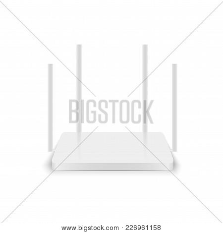 Realistic White Wireless Router With Antenna. Vector.