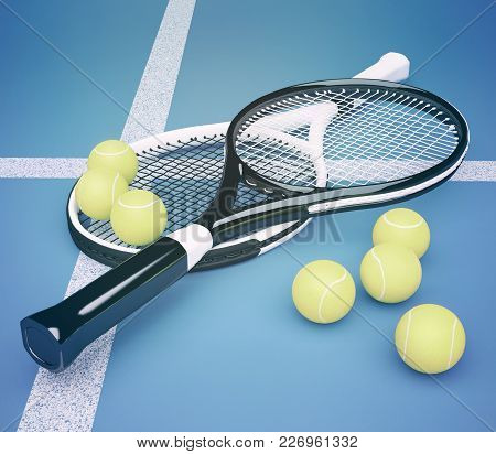 Tennis Rackets With Balls On Blue Background. 3d Illustration