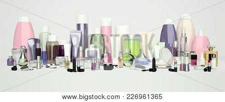 Set Of Decorative Cosmetic. Powder, Concealer, Eye Shadow Brush, Blush, Foundation, Cosmetic Cream.