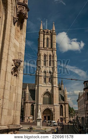 Ghent, Belgium - July 03, 2017. People, Gothic Buildings And Cathedral In Ghent. In Addition To Inte