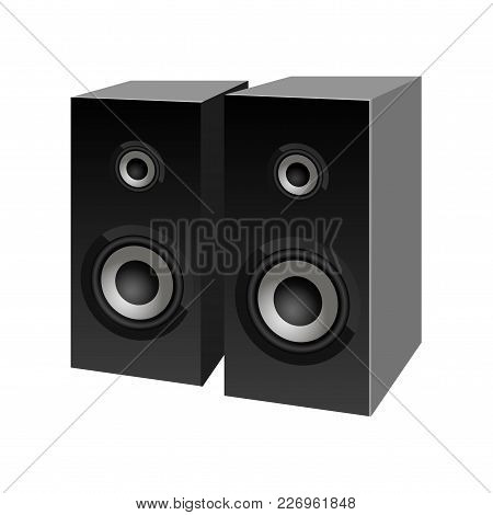 Realistic Black Loudspeakers Perspective View. Vector. Speaker Sign