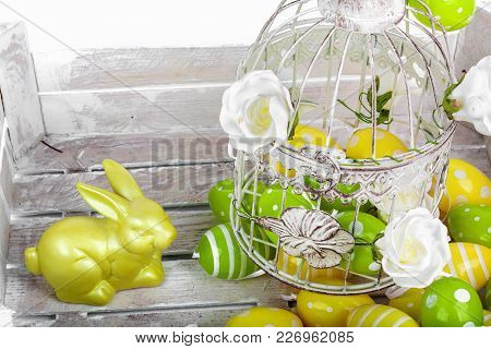 Easter Eggs And Funny Bunny  On White Background