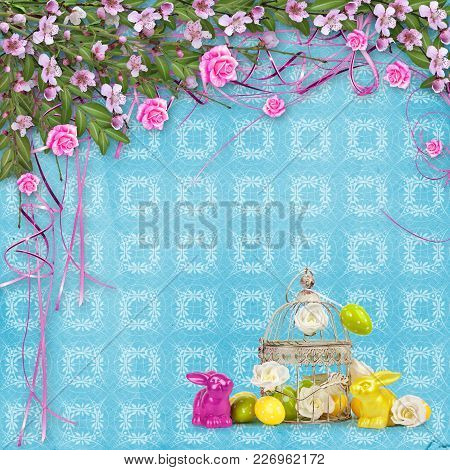 Easter Eggs And Funny Bunny  On Abstract Background