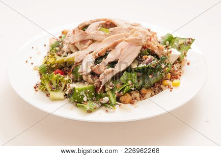 Farm Fresh Healthy Chicken Summer Salad With Quinoa And Chickpeas, Feta, Spinach And Tomato