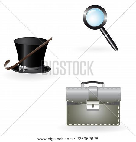 A Set Of Portfolio Icons, A Magnifying Glass, A Cane, A Hat. Vector Illustration.