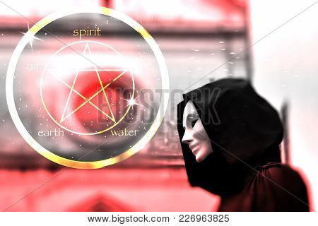 Priest Of White Magic, Sorcerer With Magical Mask Occult Masonic Lodge And Pentagram Icon, Blurred B