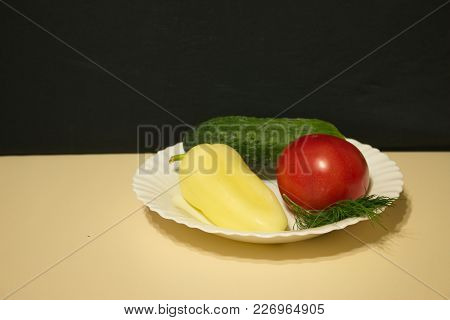 Cucumber Tomato Bell Pepper Fennel In A Plate Light Table Dark Background