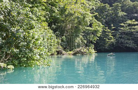 Jamaica. A Blue Lagoon. Landscape In Sunny Day