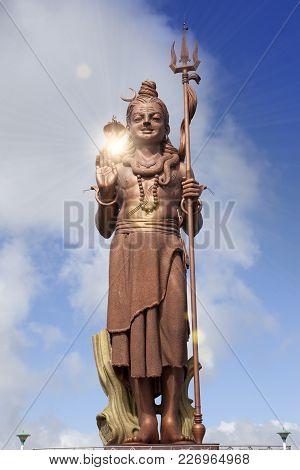 Mauritius. Shiva Statue Close Up In Sunny Day
