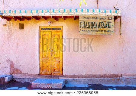 Uzbekistan, Khiva- September 20, 2015: Entrance Door Of The Traditional Guest House