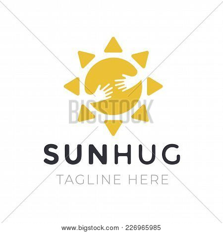 Yellow Sun Hug Logo For Company Business. Creative Symbol With Tagline On White Background. Emblem T