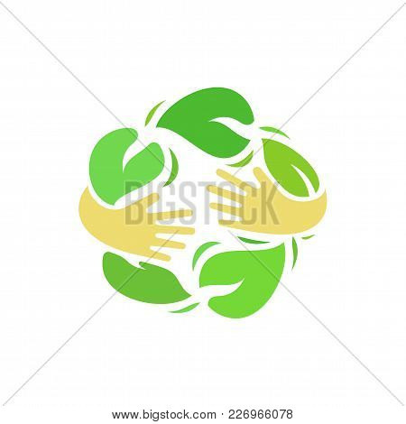 Ecology Logo Vector. Illustration Of Human Hands Hug Green Leaves. Organic Food And Environment Care