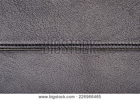 Seamless Texture Of A Surface From A Natural Skin Of Black Color With Single Seam With Double Stitch