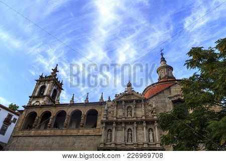 Church Of Sao Goncalo Against A Blue And Cloudy Sky Before Sunset Time, In Amarante, Portugal
